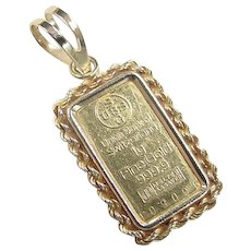 Union Bank of Switzerland 1g Fine Gold 999.9 Bar ~ 14k Gold Rope Setting