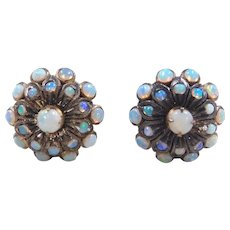 Victorian 18k Gold Opal Stud Earrings
