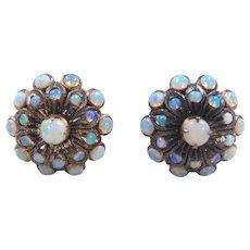 Victorian 18k Gold Opal Stud Earrings