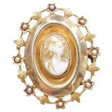 Victorian 14k Gold Cameo Pendant / Pin with Seed Pearl Floral Detail