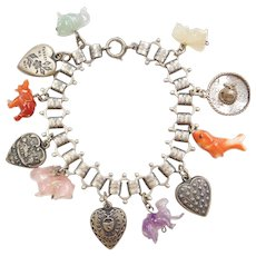 Victorian Sterling Silver Book Link Charm Bracelet ~ Heart, Love & Carved Stone Animals