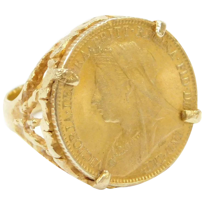 1897 Sovereign Victoria Old Head 18k 22k Gold Coin Ring Arnold Jewelers Ruby Lane