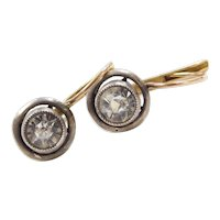 Victorian 14k Gold and Sterling Silver Faux Diamond Drop Lever Back Earrings