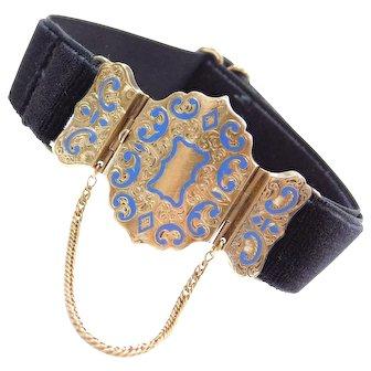 Victorian 14k Gold Blue Enamel Etched Decorative Clasp with Adjustable Black Velvet Bracelet
