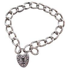 Victorian Sterling Silver Heart Lock Bracelet