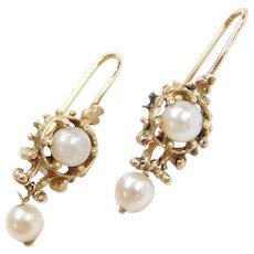 Victorian 14k Gold Cultured Pearl Ornate Drop Earrings