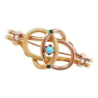 Victorian 14k Gold Seed Pearl, Turquoise and Faux Emerald Pin / Brooch