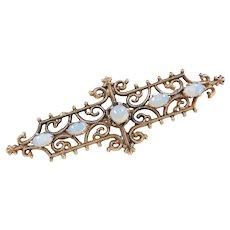Victorian Revival 14k Gold Opal Pin / Brooch