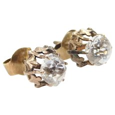 Victorian 14k Gold 1.86 ctw Old Mine Cut Faux Diamond Stud Earrings with Threaded Post