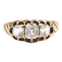 Victorian White Quartz Three Stone Ring 14k Gold
