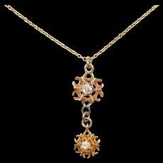 Victorian 10k Gold Old Mine Cut .11 ctw Diamond Necklace