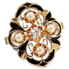 Edwardian 14k Gold Black Enamel, Seed Pearl and Diamond Ring