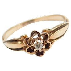 Victorian 14k Gold Old Mine Cut Diamond Flower Ring