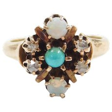 Victorian Opal, Rose Cut Diamond and Persian Turquoise Ring 10k Gold