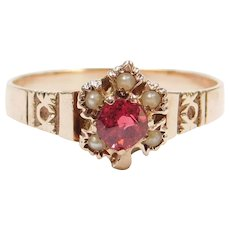 Victorian Garnet and Seed Pearl Maple Leaf Ring 10k Rose Gold