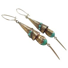 Victorian 1800's 14k Gold Turquoise Long Dangle Earrings