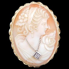 Victorian Revival 14k Gold Cameo Pin / Brooch / Pendant with Diamond Accent and Folding Bail