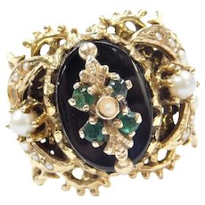 Victorian Revival Crescent Moon Onyx, Emerald and Seed Pearl Ring 14k Gold