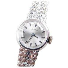 """Vintage 14k White Gold Ladies Rolex Watch ~ 6 1/4"""" - 6 1/2"""""""
