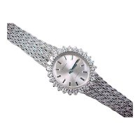 Vintage 14k White Gold Diamond Priosa Incabloc Watch ~ .75 ctw
