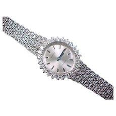 Vintage 14k White Gold Diamond Priosa Incabloc Watch ~ .75 ctw