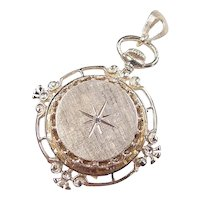 Victorian Revival 14k Gold Watch Pendant with Diamond Accent
