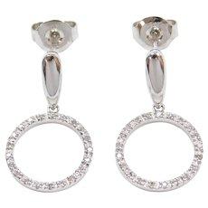 14k White Gold .21 ctw Diamond Circle Earrings