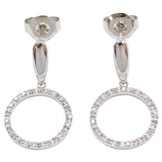 14k White Gold .21 ctw Diamond Circle Earrings