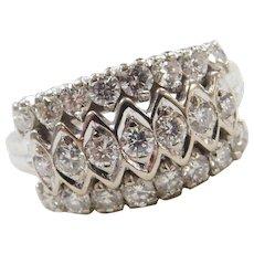 Vintage 14k White Gold .92 ctw Three Row Diamond Ring