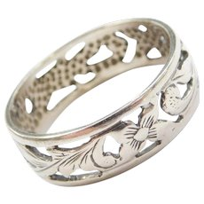 Vintage 14k White Gold Floral Band Ring