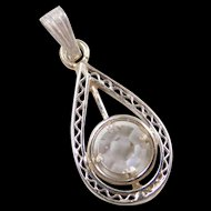 Art Deco 14k White Gold Faux Diamond Pendant