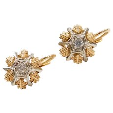 18k Gold White Spinel Two-Tone Earrings with Lever Backs