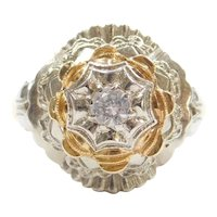 18k Gold Two-Tone White Spinel Dome Ring