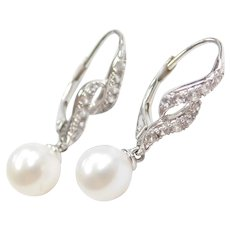 14k White Gold White Topaz and Cultured Pearl Lever Back Earrings