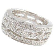 Wide 14k White Gold 1.08 ctw Diamond Ring