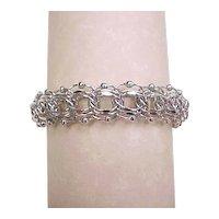 Vintage Sterling Silver Wide Triple Link and Bead Bracelet