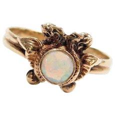 Mythological Griffith Winged Lion Opal Ring 10k Gold