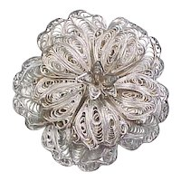 Vintage Sterling Silver Large Ornate Wire Flower Pin / Brooch