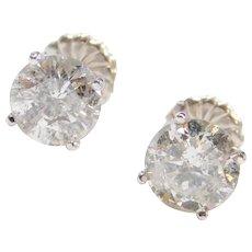 3.29 ctw BIG Diamond Stud Earrings 14k White Gold