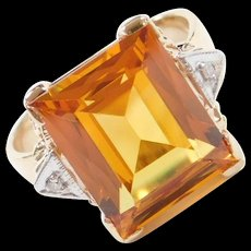 1940-50's 14k Gold 6.26 ctw Yellow Sapphire and Diamond Ring ~ Two-Tone