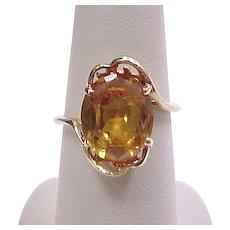 Vintage 10k Gold Yellow Sapphire Ring 6.0 Carat