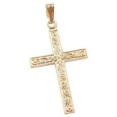 Floral Cross Pendant 14k Gold