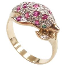 Ruby, Emerald and Diamond .56 ctw Nautical Dolphin Ring 14k Gold Two-Tone
