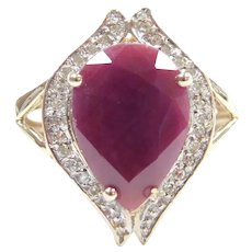 Natural Ruby and Diamond 5.59 ctw Ring 10k Gold Two-Tone