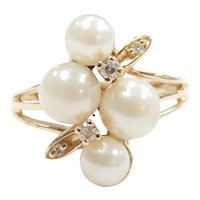Cultured Pearl and Diamond .07 ctw Cluster Ring 14k Gold