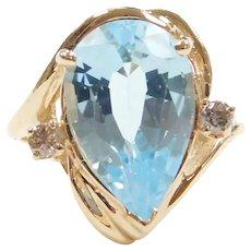 Baby Swiss Blue Topaz and Diamond 8.60 ctw Ring 14k Gold