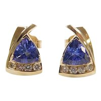 Tanzanite and Diamond 1.22 ctw Stud Earrings 14k Gold