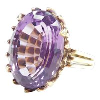 Mid Century Amethyst 11.60 Carat Solitaire Ring 14k Gold Made In Germany