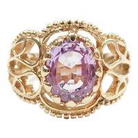 Lavender Sapphire 3.15 Carat Ornate Ring 14k Gold
