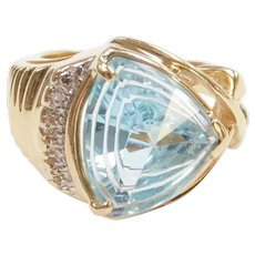 Fancy Cut Sky Blue Topaz and Diamond 7.31 ctw Ring 14k Gold Two-Tone